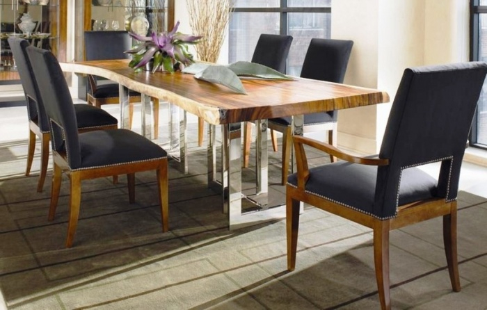 Modena rect-dining table and chairs. Thicker table top leaf raised on burnishes steel-chrome framing legs, this table complete with two captain chairs and four side chairs