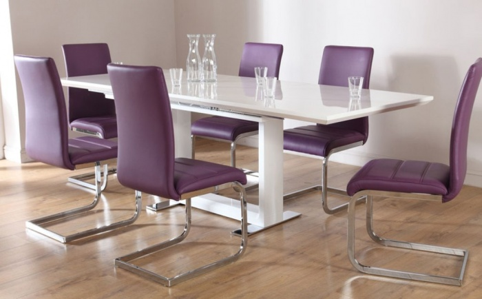 Modern Chairs Purple Color With Glossy Silver Backrest And Glossy White Rectangular Table at Contemporary Dining Room