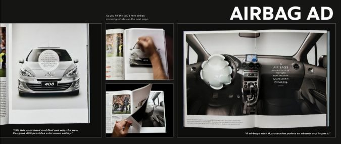 Peugeot-airbag Top 10 Most Interactive Car Print Ads