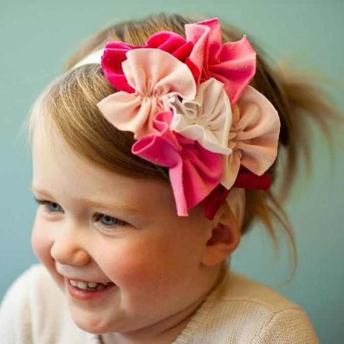 Pink-Toddler-Girl-Baby-Handmade-Headband Babies' Charming Hairstyles