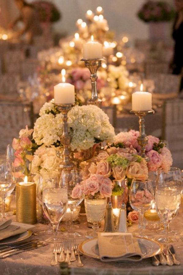 Pink-White-Roses-Gold-Candelabras-Centerpieces-Wedding 50 Fabulous and Breathtaking Wedding Centerpieces