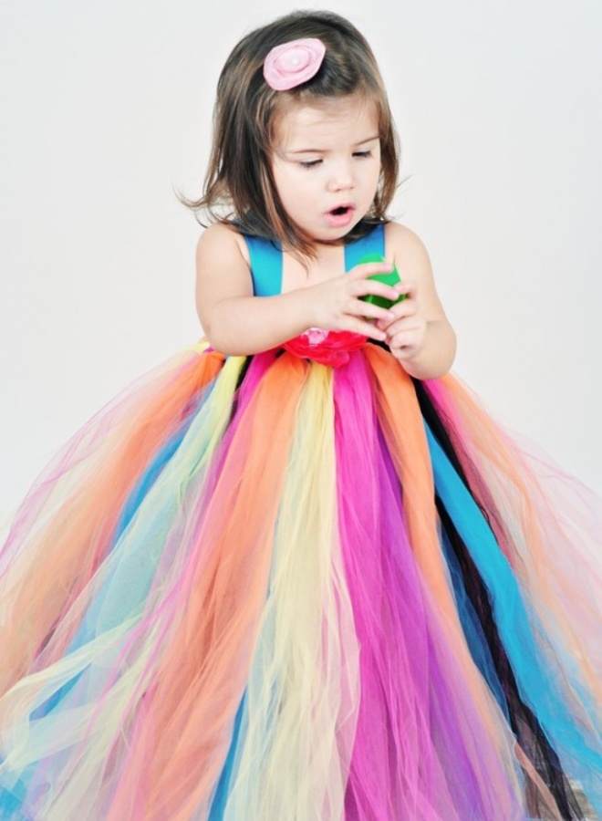 Rainbow-Bright-Flower-Girl-Tutu-Dress Gorgeous Rainbow Kids Clothing