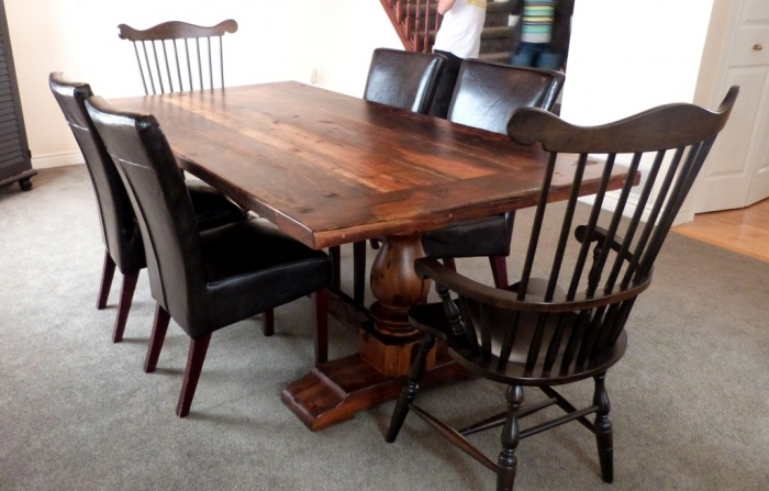 Reclaimed threshing floor Pedestal trestle table with comb back arm chairs What Are the Latest Home Decor Trends for 2014?