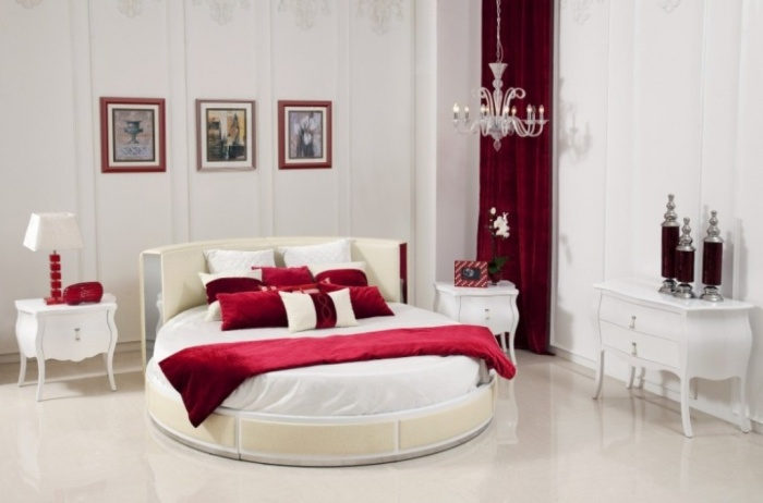 Red-White-Good-Bedroom-Colors-with-Oval-Bed Fabulous and Breathtaking Bedroom Designs