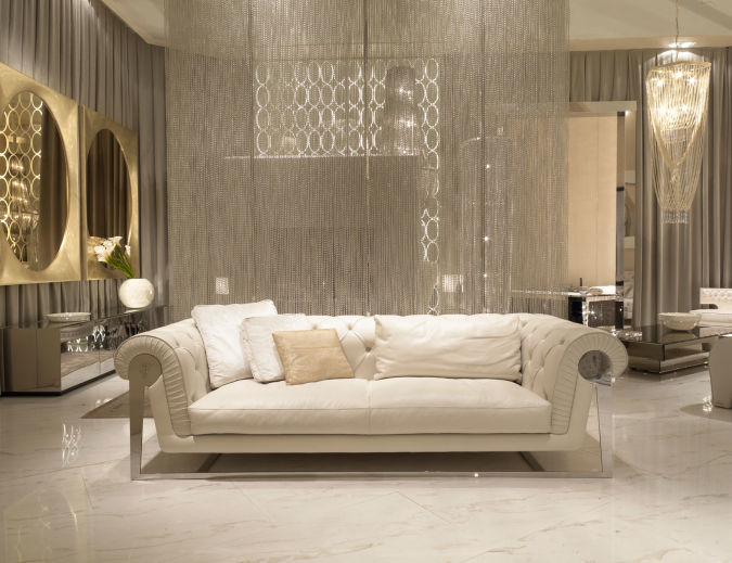 Sleek-White-Marble-Floor-Italian-Sofas-Shiny-Gold-Mirror Make a Big Difference In Your Home By Adding Mirrors