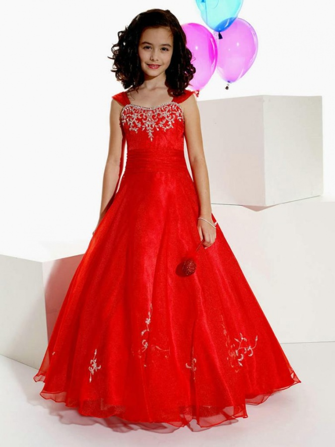 Sweetheart-Ruched-Cap-Sleeves-V-Neck-Applique-Red-Girls-Gown-Dresses Most Stylish and Awesome Party Clothing for Girls