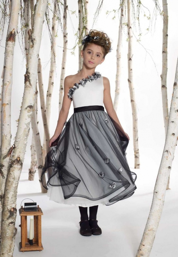 Taffeta-One-Shoulder-A-line-Long-Junior-Bridesmaid-Dress Most Stylish and Awesome Party Clothing for Girls