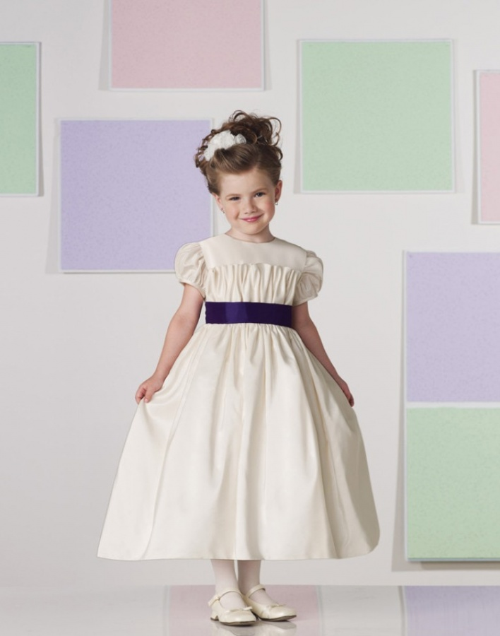 a_line_scoop_neck_short_sleeve_tea_length_satin_toddler_flower_girl_dress Most Stylish and Awesome Party Clothing for Girls