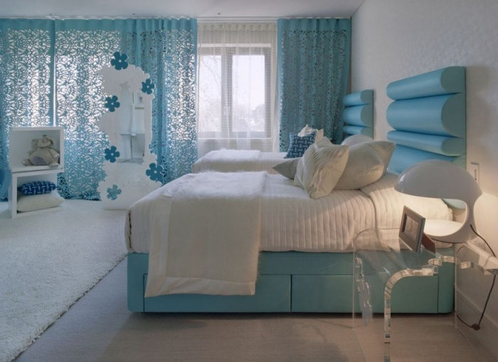 blue bedroom color and white rugs design in modern luxury dreams house design by shh What Are the Latest Home Decor Trends for 2014?