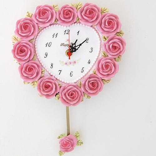 cheapest-price-high-quality-wholesale-and-retail-creative-house-deco-heart-shape-rose-wall-clock 15 Amazing Wall Clocks Will Be Pieces Of Art In Your Home