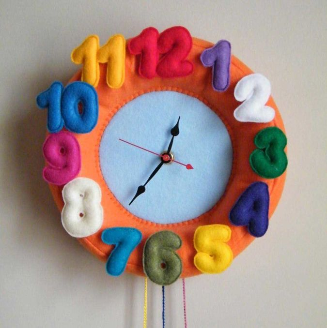 colorful-felt-cool-wall-clock-kids 15 Amazing Wall Clocks Will Be Pieces Of Art In Your Home