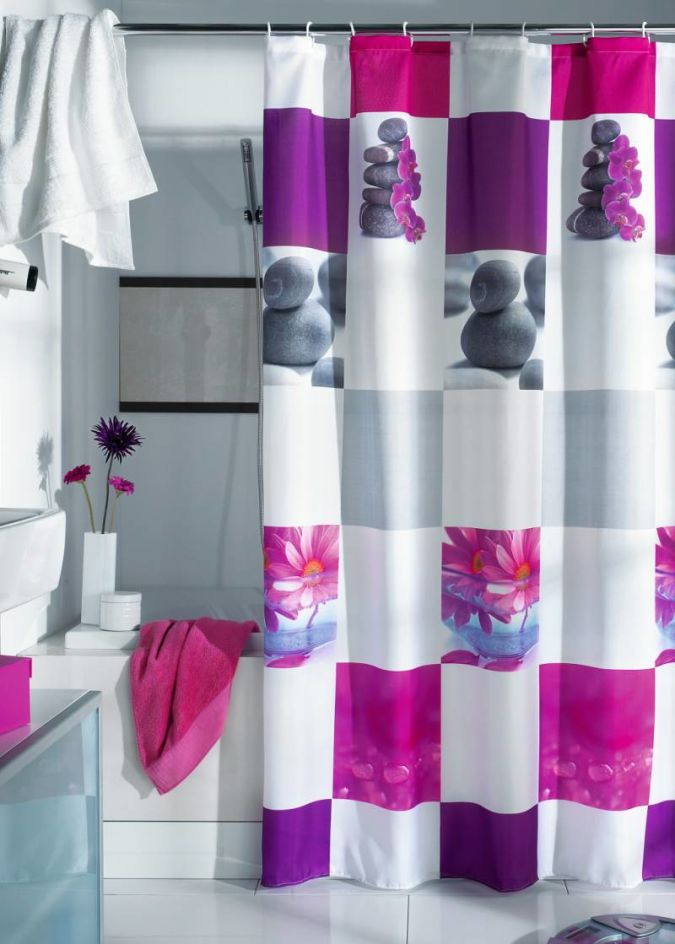 colorfull-shower-curtain-red-towel-white-towel-bath-tub- Curtains' Designs For Bathrooms And Showers
