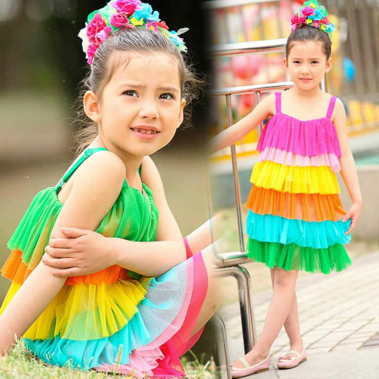 dresses-rainbow-colorful Gorgeous Rainbow Kids Clothing