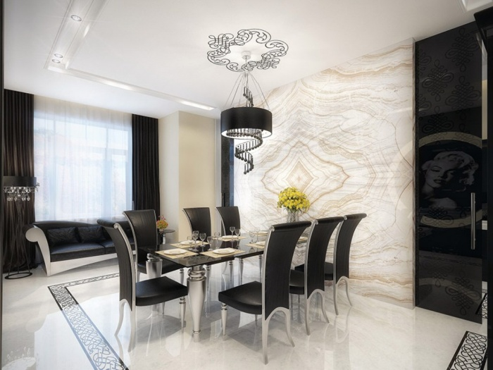 extraordinary-white-marble-dining-room-with-black-furniture