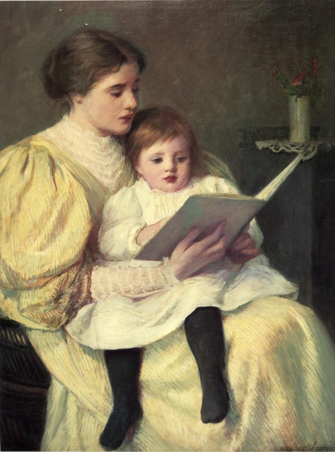 frederick-warren-freer-xx-mother-and-child-reading-xx-montgomery-museum-of-fine-arts 20 Paintings Of Fine Art