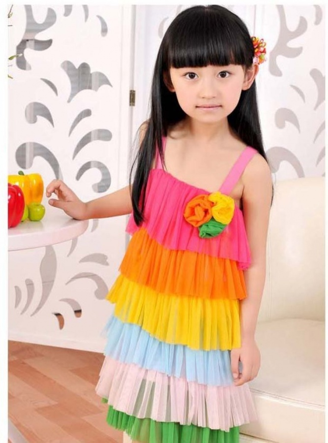 girls-dress-Rainbow-summer Gorgeous Rainbow Kids Clothing