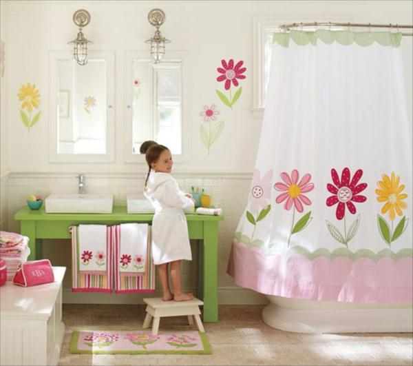kid-bathroom-with-sweet-curtain-so-beautiful Curtains' Designs For Bathrooms And Showers