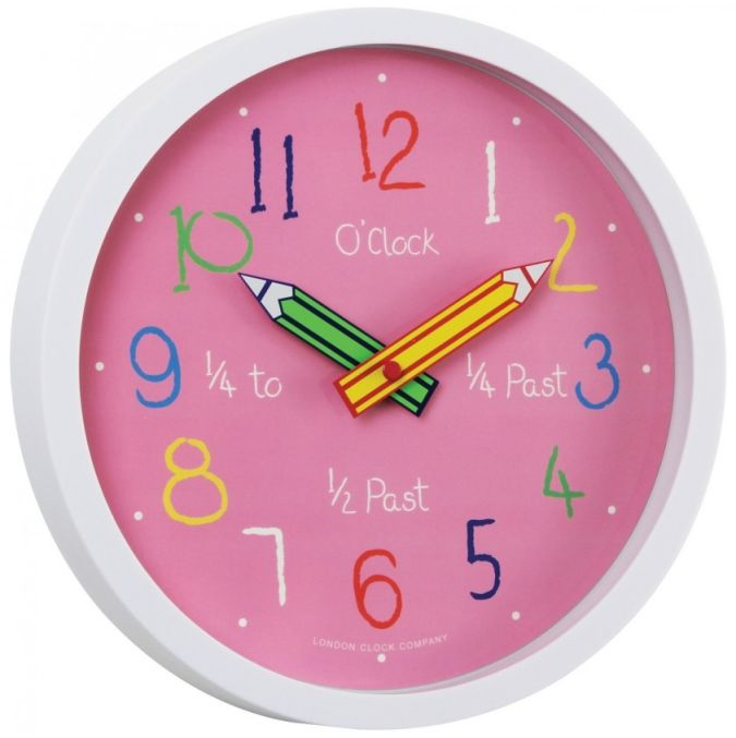 kids-tell-the-time-wall-clock-pink-24153-large 15 Amazing Wall Clocks Will Be Pieces Of Art In Your Home