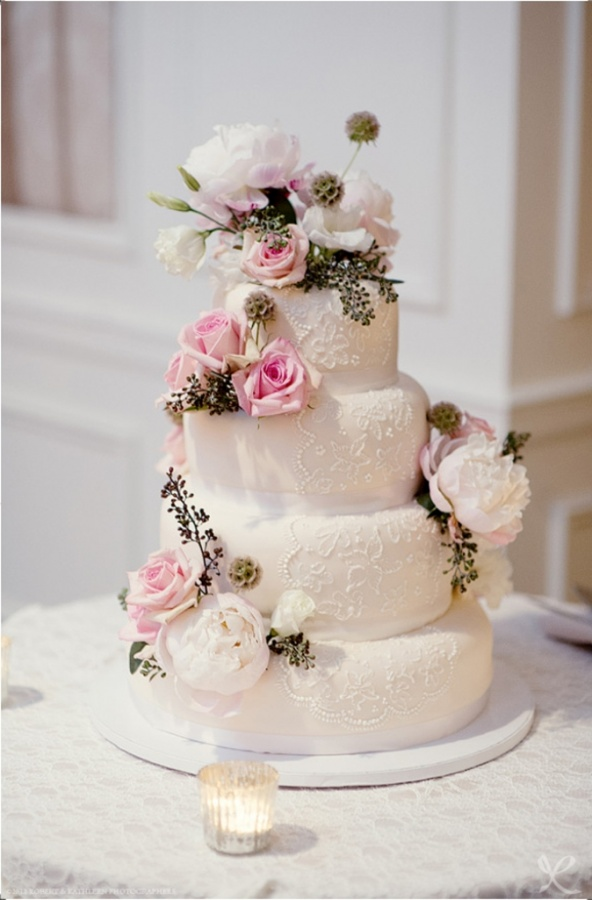 lace-wedding-cake 50 Mouthwatering and Wonderful Wedding Cakes