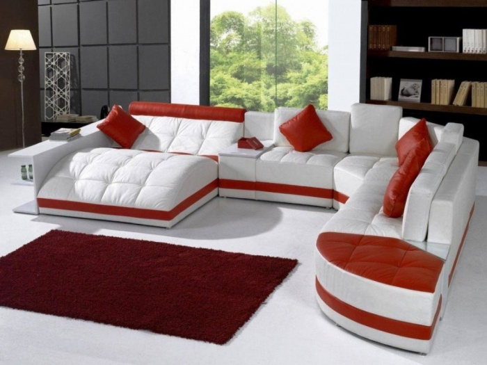 living room colors trend red cushion white sofa Discover the Furniture Trends for 2014