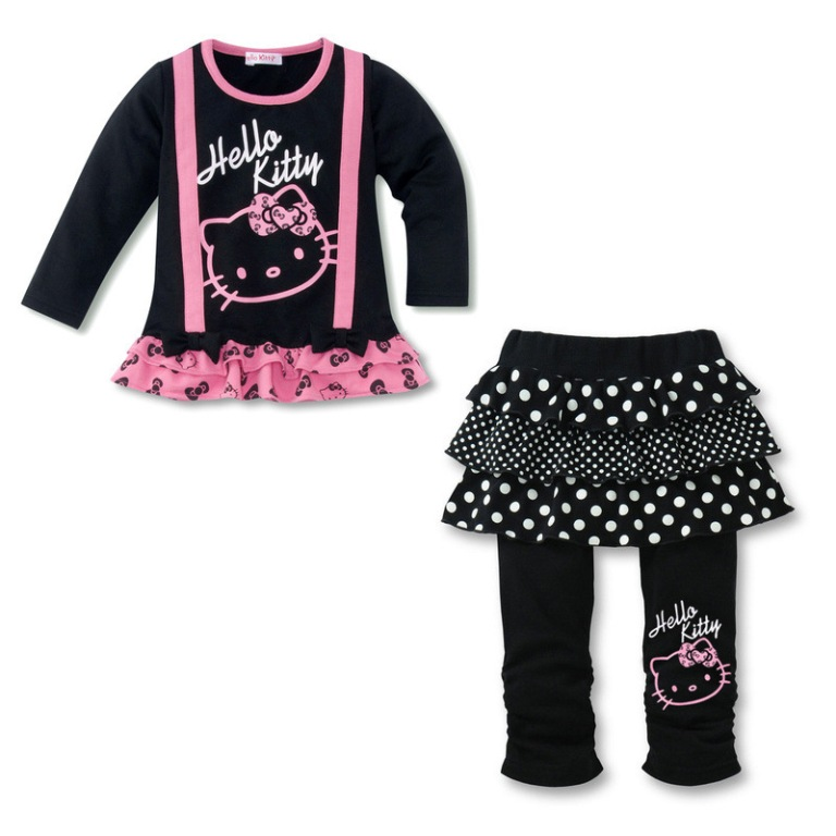 lovely-hello-kitty-suit-children-s-suit-baby-girls-long-sleeve-kt-t-shirt 30 Cutest Baby Girl Pants