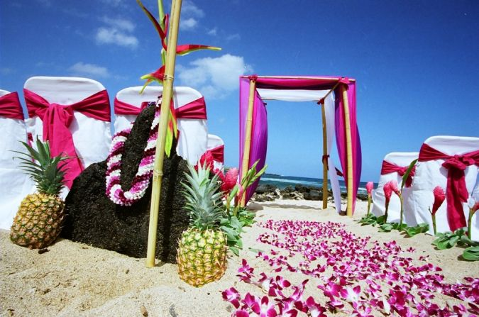 malia-wedding-setup-in-hawaii-on-the-beach-with-purple-lavender-orchids-pineaplles-and-lava-rocks-pacific-beach-wedding-theme Wedding Planning Ideas