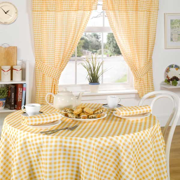 molly-gingham-check-kitchen-lemon-0 Kitchen Window's Curtain For Privacy And Decoration