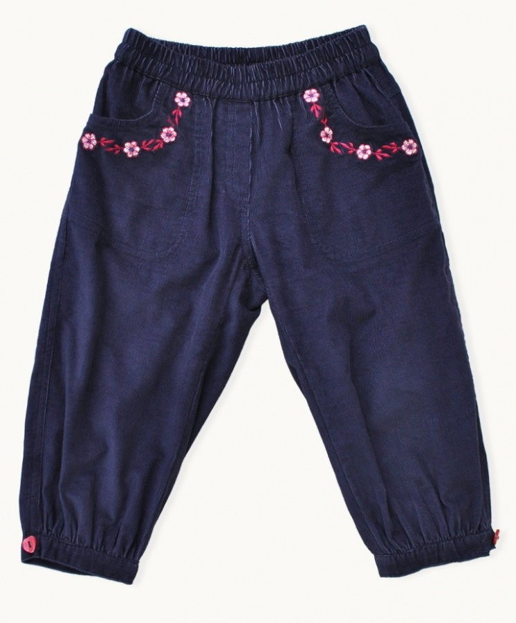 navy-embroidered-corduroy-pants 30 Cutest Baby Girl Pants