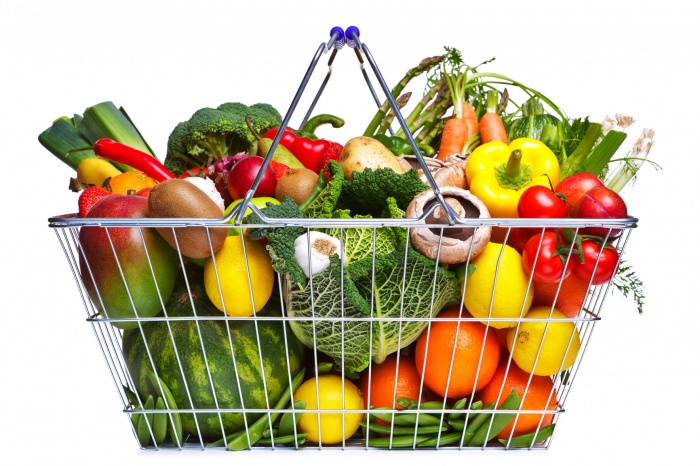 photodune-1106246-shopping-basket-fruit-and-vegetables-isolated-on-white-m1 Baskets For Fruits And Vegetables In Your Kitchen