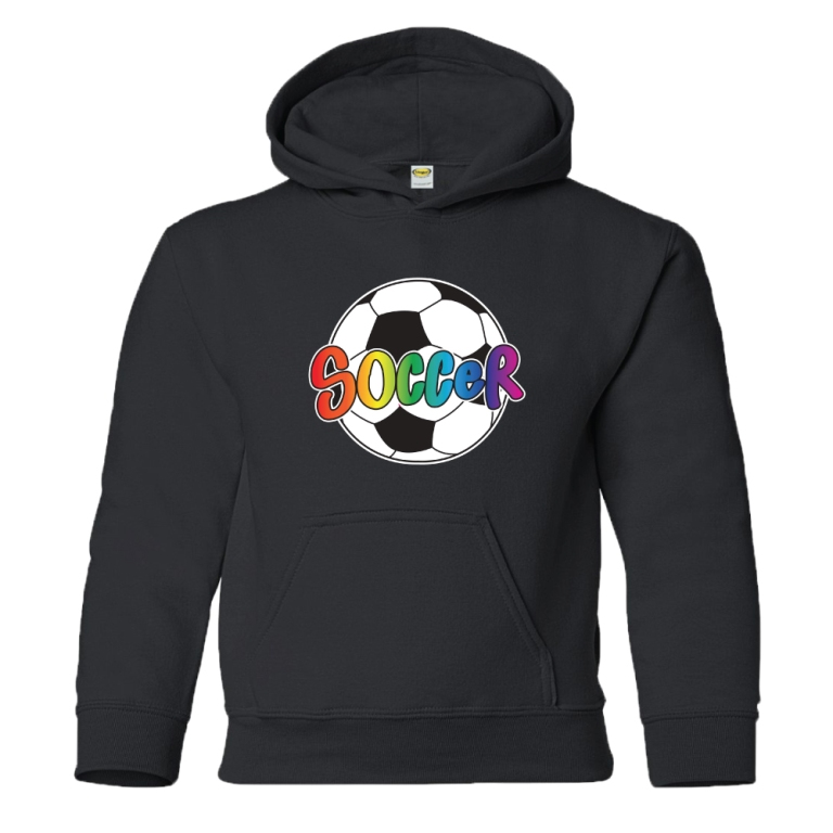 rainbow-soccer-ball-pullover-hoody-black Gorgeous Rainbow Kids Clothing