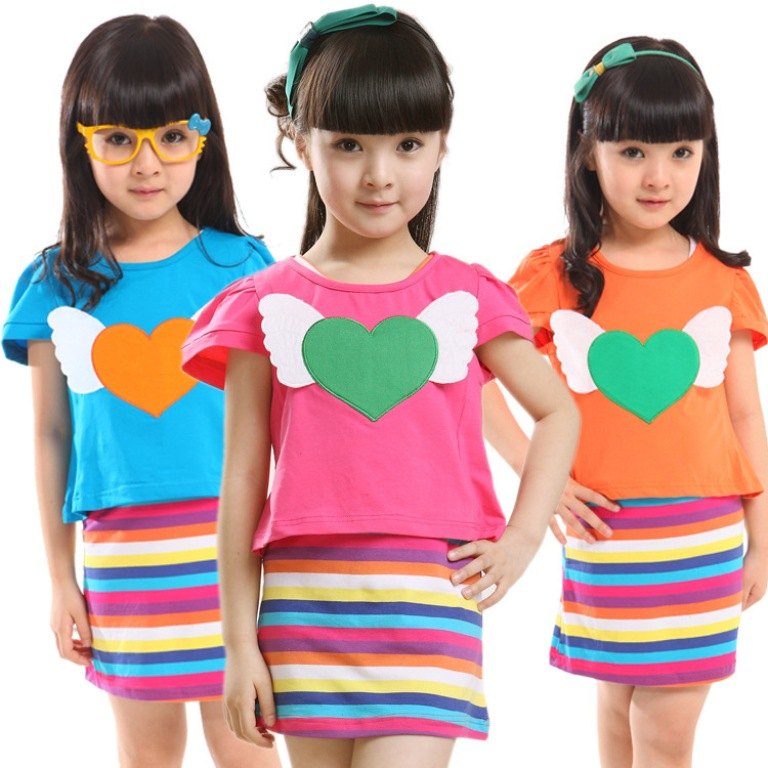 rainbow-striped-dress-set-kids-heart-angel Gorgeous Rainbow Kids Clothing