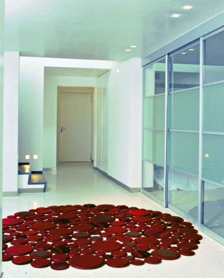red-creative-circle-leather-rugs-design-from-Pachamama Exotic and Creative Carpet Designs for Your Unique Home