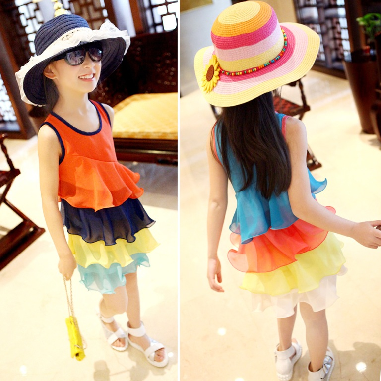 ruffle-chiffon-rainbow-dress-stripes Gorgeous Rainbow Kids Clothing