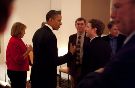 "story-obama-zuckerberg-1803069642 ""Mark Zuckerberg"" The Chairman Of Facebook Inc"