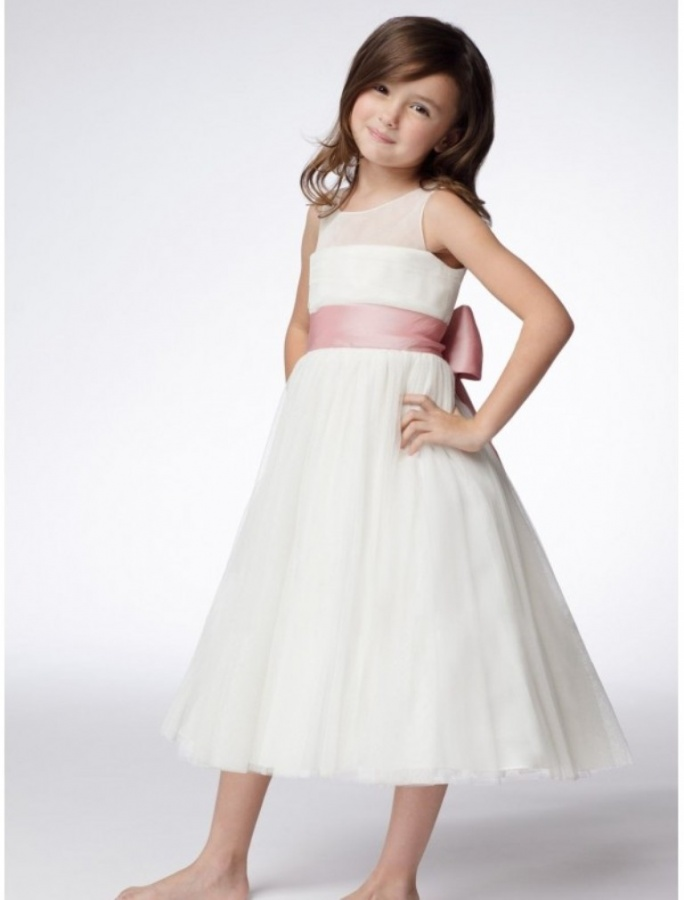 tulle-jewel-neckline-a-line-flower-girl-dress-with-bow-accents-waistband Most Stylish and Awesome Party Clothing for Girls