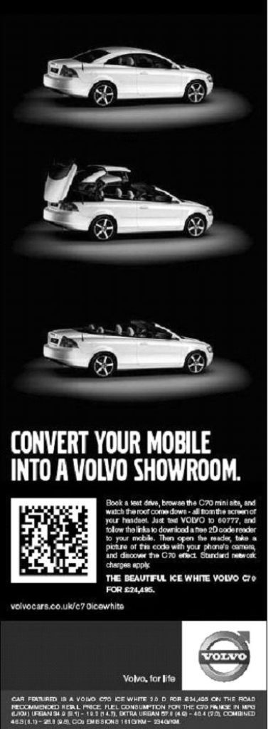 volvo-datamatrix-ad Top 10 Most Interactive Car Print Ads