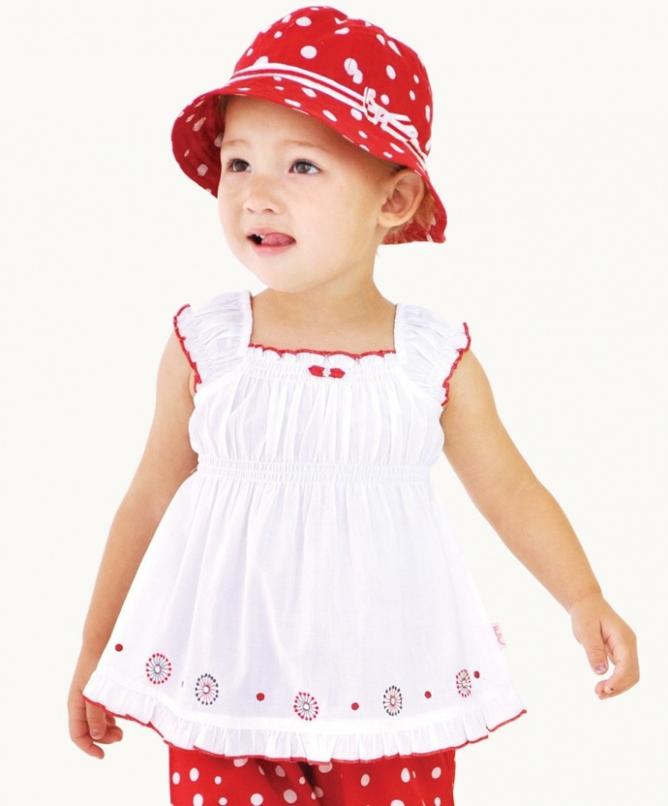 white-cotton-voile-top Top 15 Cutest Baby Clothes for Summer