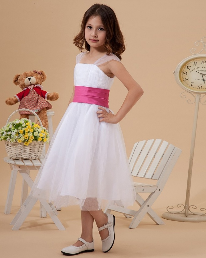 white-with-pink-ribbon Most Stylish and Awesome Party Clothing for Girls