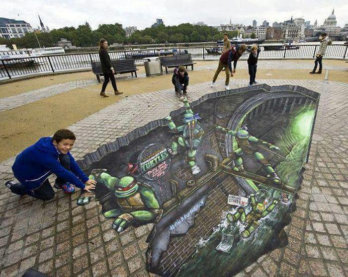 ♥-Ninja-Turtles-Street-3D-Art-♥ 26 Most Stunning 3D Street Art Paintings
