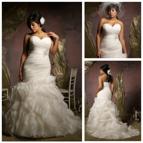 2117595_130217161536_New-Design-2013-Ivory-Organza-Ruffle-Skirt-Hot-Sale-Mermaid-Wedding-Dress-Plus-Size Tips To Choose The Perfect Plus Size Bridal Dress...