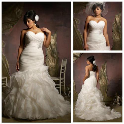 2117595_130217161536_New-Design-2013-Ivory-Organza-Ruffle-Skirt-Hot-Sale-Mermaid-Wedding-Dress-Plus-Size Tips To Choose The Perfect Plus Size Bridal Dress...