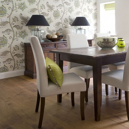 7-wallpapers-for-dining-room-Green-floral-wallpaper Tips On Choosing Wall Papers For Your Living Room