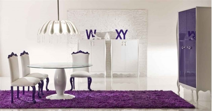 Amazing-Violet-Romantic-Dining-Room-With-White-Chairs-And-Furniture-Completed-By-Purple-Rug 45 Most Stylish and Contemporary Dining rooms