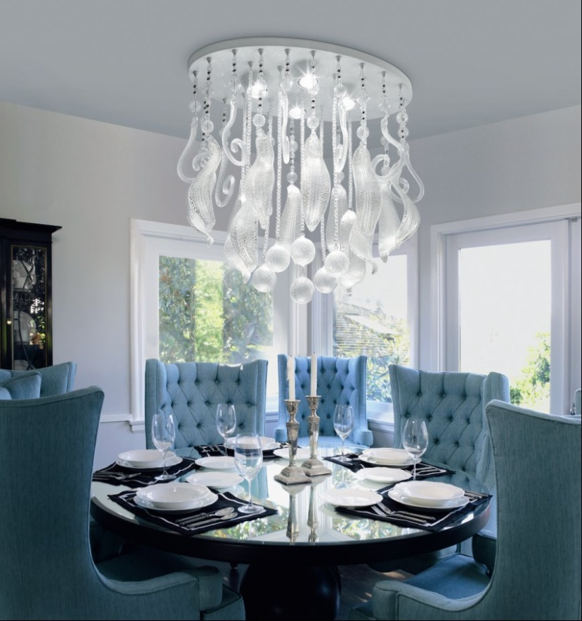 Awesome-Amazing-Dining-Room-With-Blue-Chairs-And-Big-Chandelier 45 Most Stylish and Contemporary Dining rooms
