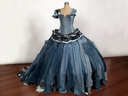 Ballgown-made-from-jeans 12 Impressive Art Works Made From Recycled Materials