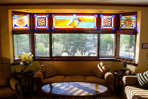 Bay-window-style-with-stained-glass-for-home Window Design Ideas For Your House