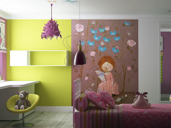 Beautiful-Wall-Murals-Decoration-Style-in-Pink-Bedroom-Design-Ideas-fo-Teenage-Girls-Bedroom3 Modern Ideas Of Room Designs For Teenage Girls