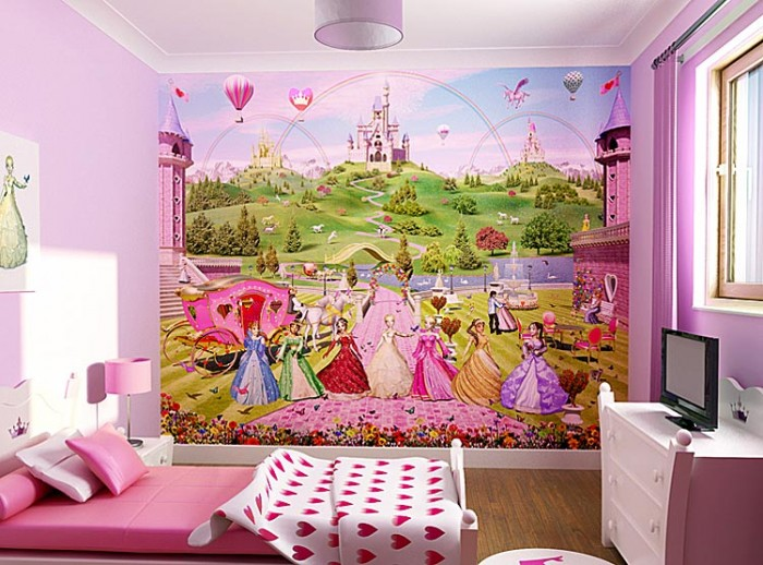 Beauty-Disney-Princess-Wallpaper-for-Kids-Room-7 Create A Colorful Atmosphere In Your Kids Room By Wallpaper