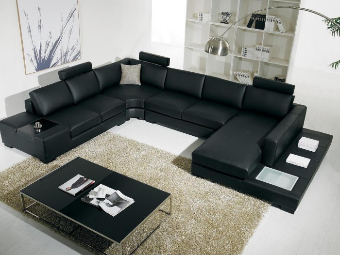 Black-Sofa-Living-Room-Furniture-Modern +20 Modern Ideas For Living Rooms Designs