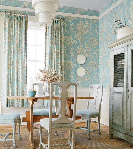 Blue-Floral-Classic-Room-Wallpapers1 Tips On Choosing Wall Papers For Your Living Room